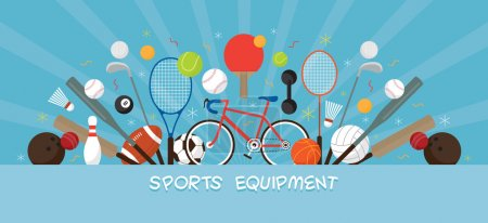 Sports Equipment, Flat Icons Display Banner