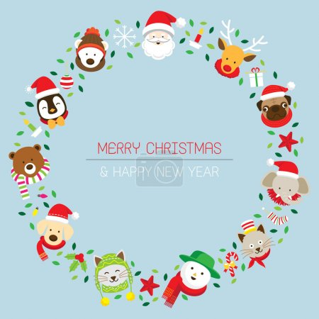 Christmas Wreath with Santa & Animals