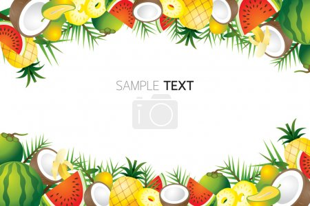Mixed Tropical Fruits, Frame, Border
