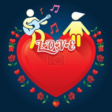 Illustration pour Amour, Saint Valentin, se marier et jeu de mariage - image libre de droit