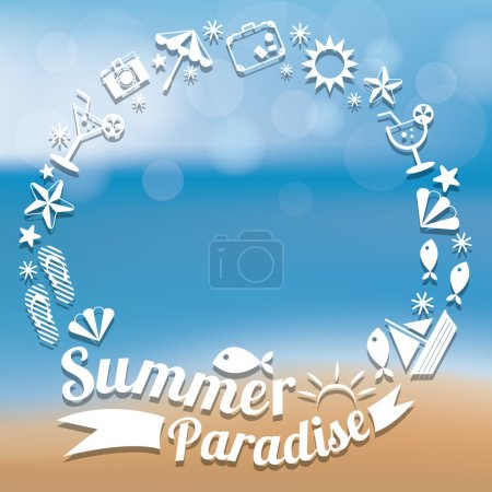 Summer Flat Icons and Text Heading Wreath
