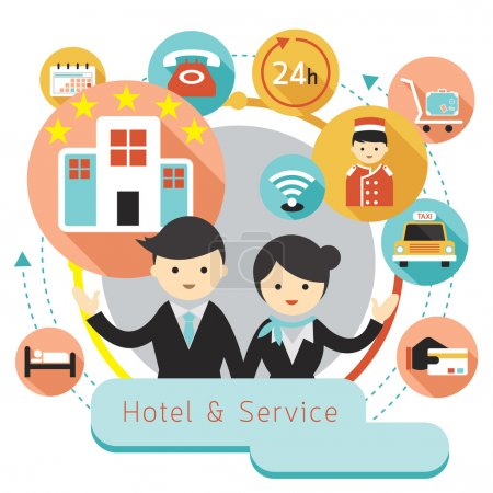 Illustration for Hotel and Accommodation Amenities Services - Royalty Free Image