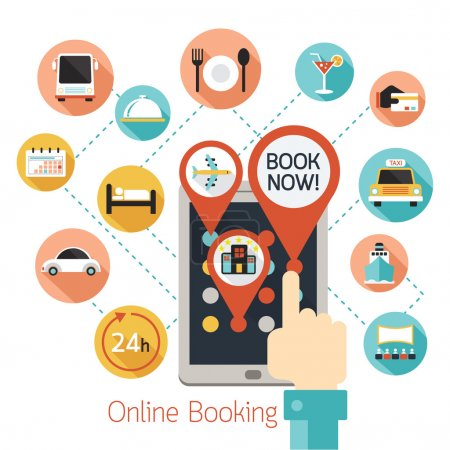 Hand Finger Touch Tablet Online Booking Icons