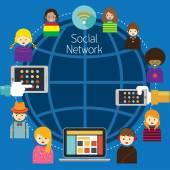 Mobil, notebook, Tablet s sociální síť lidí