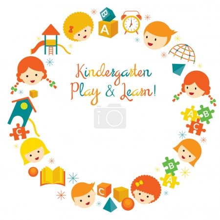 Illustration for Kindergarten, Preschool, Kids, Education, Learning and Study Concept - Royalty Free Image