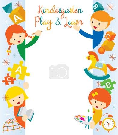 Illustration pour Maternelle, préscolaire, enfants, éducation, apprentissage et étude Concept - image libre de droit