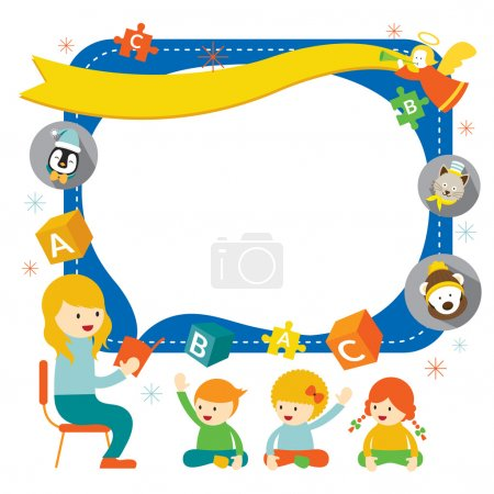 Teacher teach Kids with Icons Frame