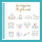 Školky, kreslení čar hračky a dětské hřiště Set