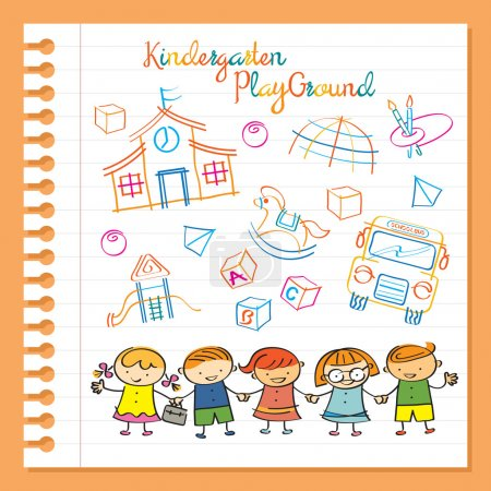Illustration for Magic Marker Drawing Style on Paper, Preschool, Kids, Education, Learning and Study Concept - Royalty Free Image