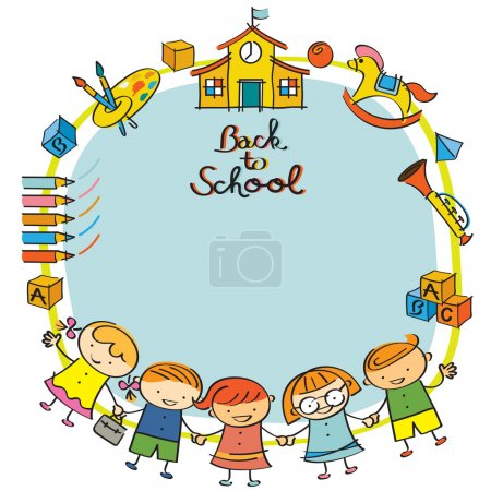 Illustration for Drawing Style, Kindergarten, Preschool, Kids, Education, Learning and Study Concept - Royalty Free Image