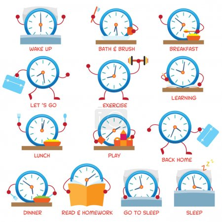Clock Character Daily Routine, timetable