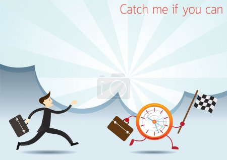 Businessman Run to catch Clock Character