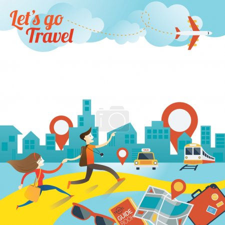Illustration pour Tourisme, Visites, Voyage, Inspiration et Concept - image libre de droit