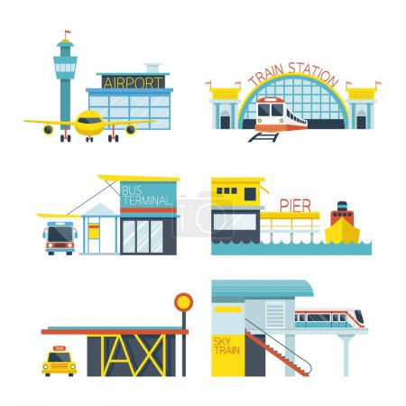 Mode of Transport Illustration Icons Objects