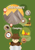 Explorer with Camping Icons Illustration Background