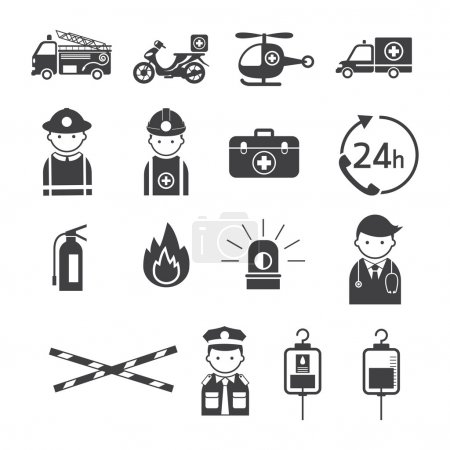 Illustration pour Sauvetage, premiers soins, véhicule, équipement et personnes - image libre de droit