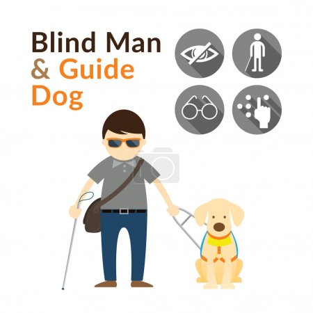 Blind Man with Guide Dog, Seeing Eye Dog