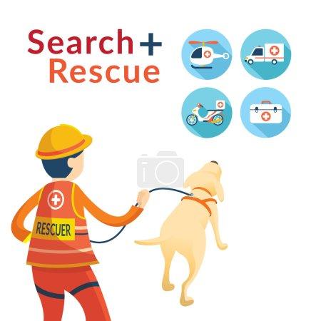 Illustration pour Urgence, premiers soins, véhicule et équipement - image libre de droit