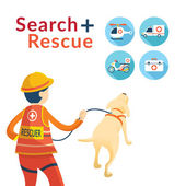 Rescuer with Dog Search and Rescue Icons