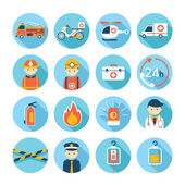 Notfall-flach-Icons Set