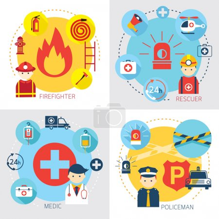 Illustration pour Sauvetage, premiers soins, véhicule et équipement - image libre de droit