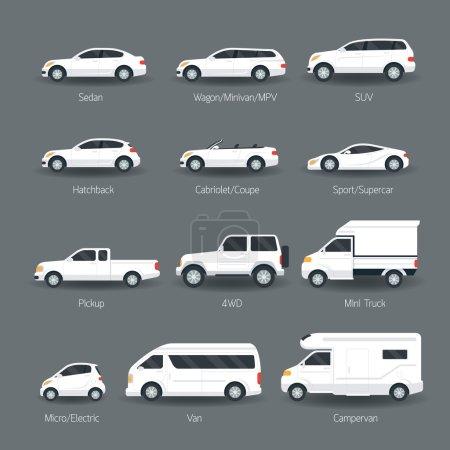 Illustration pour Couleur du corps blanc, Automobile , - image libre de droit