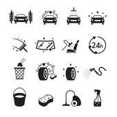 Mytí aut objekty ikony Set