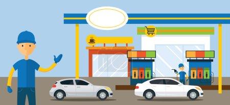 Autos en gasolinera e ilustración del asistente de servicio