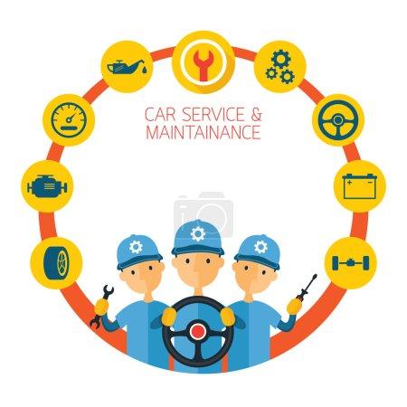 Illustration pour Vérification, réparation automobile - image libre de droit