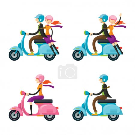 Couple, Man, Woman, Riding Scooter