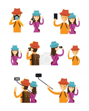 Illustration for Camera, Tourist, Traveler, Photography - Royalty Free Image