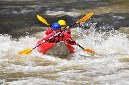 White water team kayaking