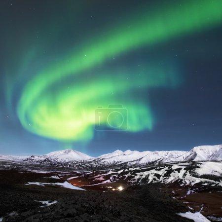 Northern lights above fjords in Iceland...