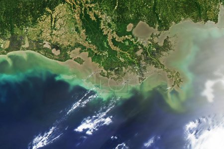 Oil spill at Mississippi delta, captured from space.
