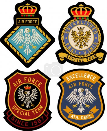 Illustration for Set of  classic heraldic royal emblem badge shield - Royalty Free Image