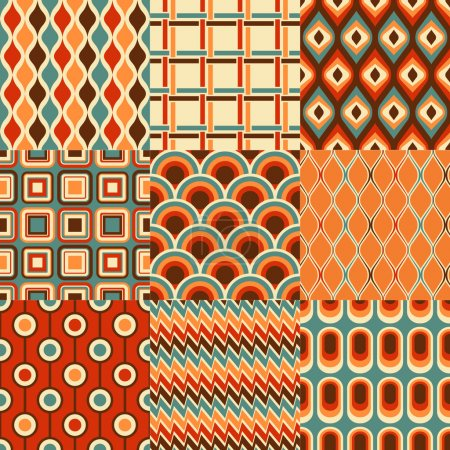 Illustration for Seamless retro geometric pattern vector set - Royalty Free Image
