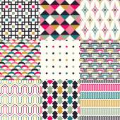 Seamless retro geometric pattern vector set