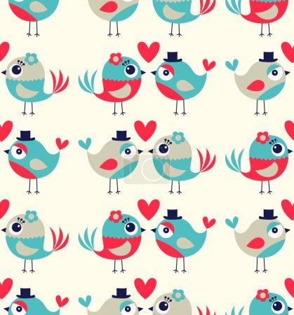 seamless birds love  cute background