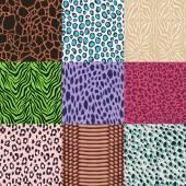 repeated wildlife animal skin background set