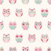 Seamless vector owls birds pattern