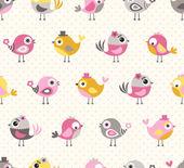 seamless cute birds cartoon pattern