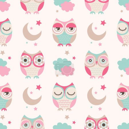 Illustration for Seamless vector owls birds pattern - Royalty Free Image