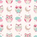 Seamless vector owls birds pattern