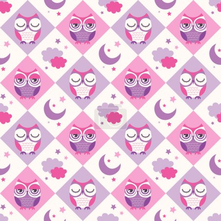 birds, owls seamless background