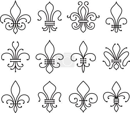 fleur de lys symbol set