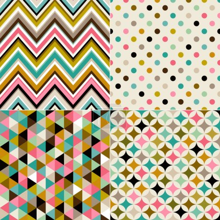 Illustration for Multicolor geometric abstract patterns set. vector illustration - Royalty Free Image