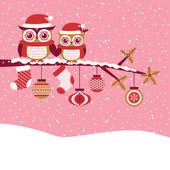 Owls couple christmas greeting