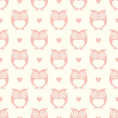 Seamless cartoon childish owls background pattern vector illustration