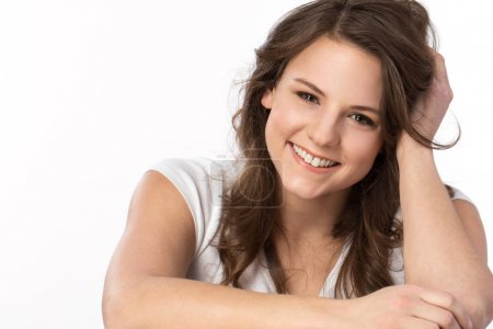 Young woman laughing.