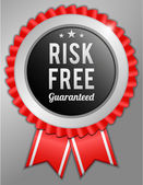 Red risk free guaranteed label badge vector illustration